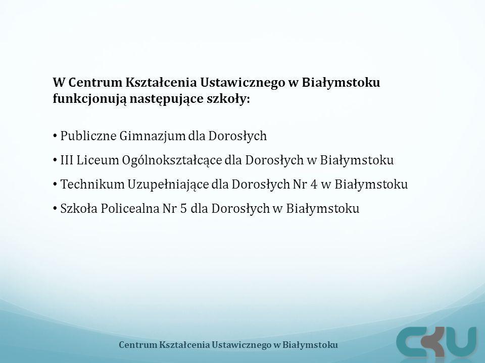 W Centrum Kształcenia Ustawicznego w Białymstoku funkcjonują następujące szkoły: Publiczne Gimnazjum dla Dorosłych III Liceum Ogólnokształcące dla Dor