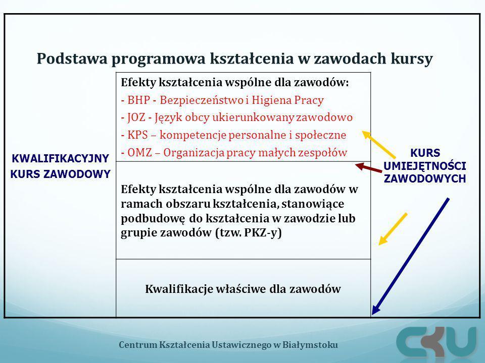 Podstawa programowa kształcenia w zawodach kursy Centrum Kształcenia Ustawicznego w Białymstoku KWALIFIKACYJNY KURS ZAWODOWY KURS UMIEJĘTNOŚCI ZAWODOW