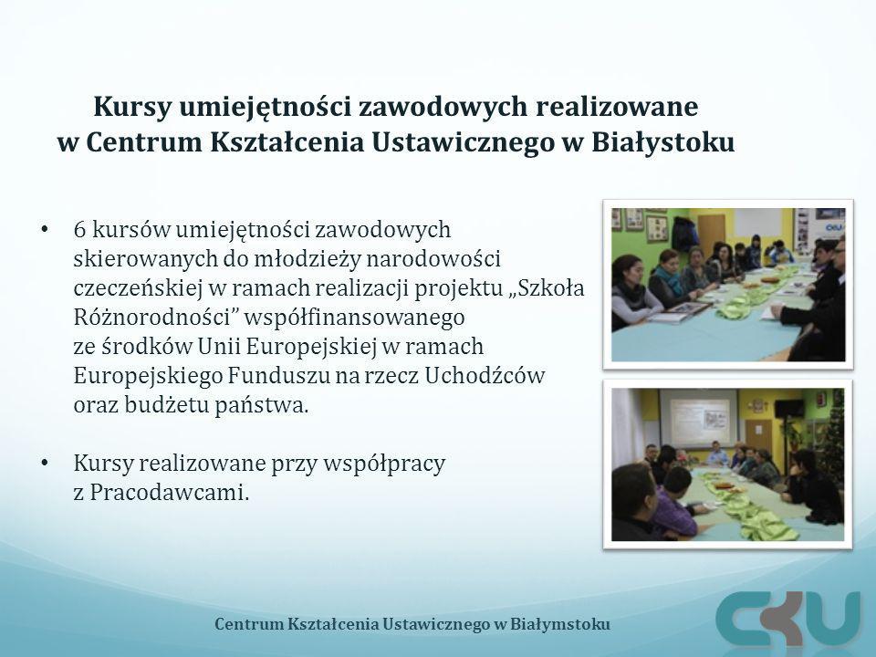 """6 kursów umiejętności zawodowych skierowanych do młodzieży narodowości czeczeńskiej w ramach realizacji projektu """"Szkoła Różnorodności współfinansowanego ze środków Unii Europejskiej w ramach Europejskiego Funduszu na rzecz Uchodźców oraz budżetu państwa."""