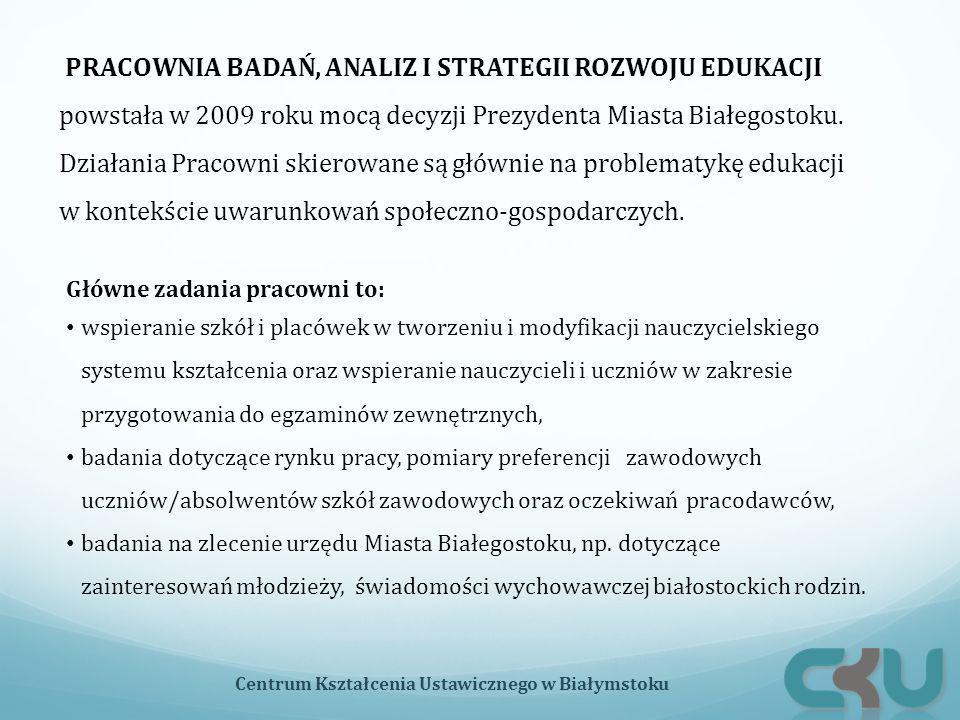 Centrum Kształcenia Ustawicznego w Białymstoku PRACOWNIA BADAŃ, ANALIZ I STRATEGII ROZWOJU EDUKACJI powstała w 2009 roku mocą decyzji Prezydenta Miasta Białegostoku.