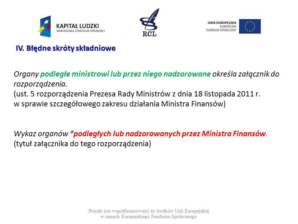Organy podległe ministrowi lub przez niego nadzorowane określa załącznik do rozporządzenia. (ust. 5 rozporządzenia Prezesa Rady Ministrów z dnia 18 li