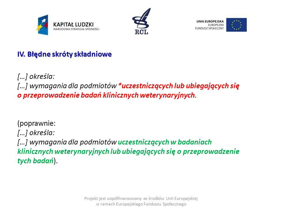 Projekt jest współfinansowany ze środków Unii Europejskiej w ramach Europejskiego Funduszu Społecznego IV. Błędne skróty składniowe […] określa: […] w