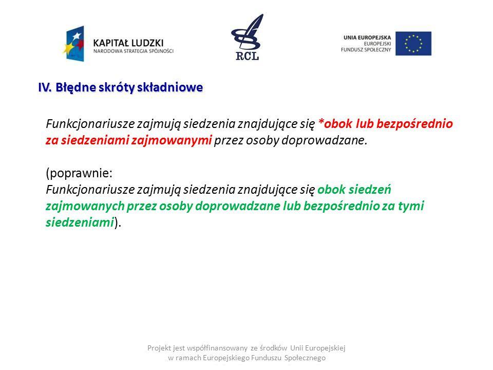 Projekt jest współfinansowany ze środków Unii Europejskiej w ramach Europejskiego Funduszu Społecznego IV. Błędne skróty składniowe Funkcjonariusze za