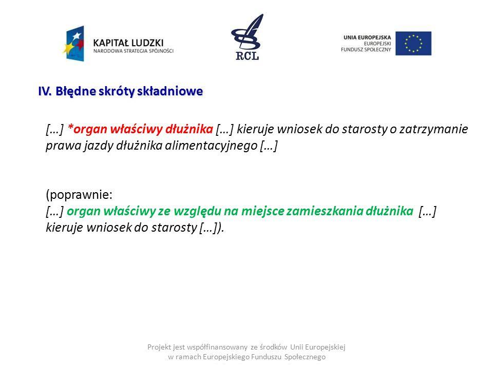 Projekt jest współfinansowany ze środków Unii Europejskiej w ramach Europejskiego Funduszu Społecznego IV. Błędne skróty składniowe […] *organ właściw