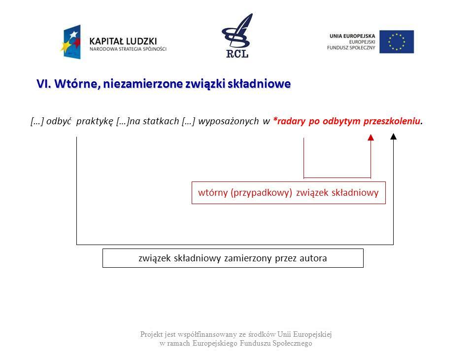 […] odbyć praktykę […]na statkach […] wyposażonych w *radary po odbytym przeszkoleniu. Projekt jest współfinansowany ze środków Unii Europejskiej w ra