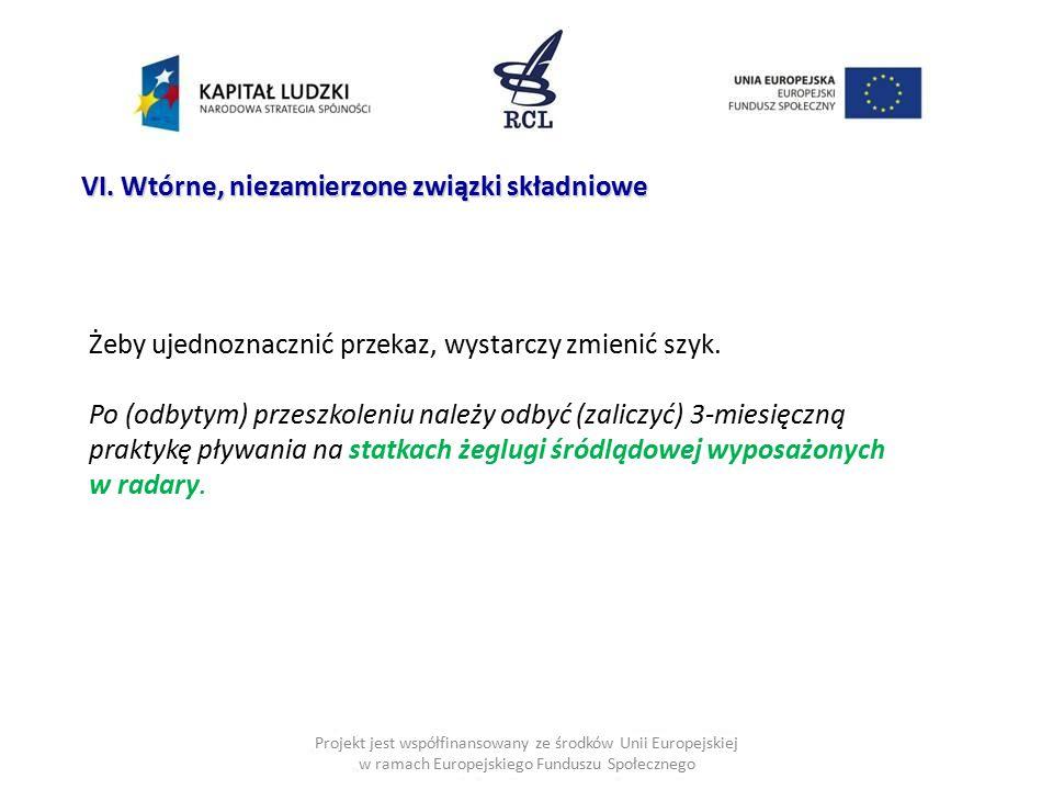 Projekt jest współfinansowany ze środków Unii Europejskiej w ramach Europejskiego Funduszu Społecznego VI. Wtórne, niezamierzone związki składniowe Że