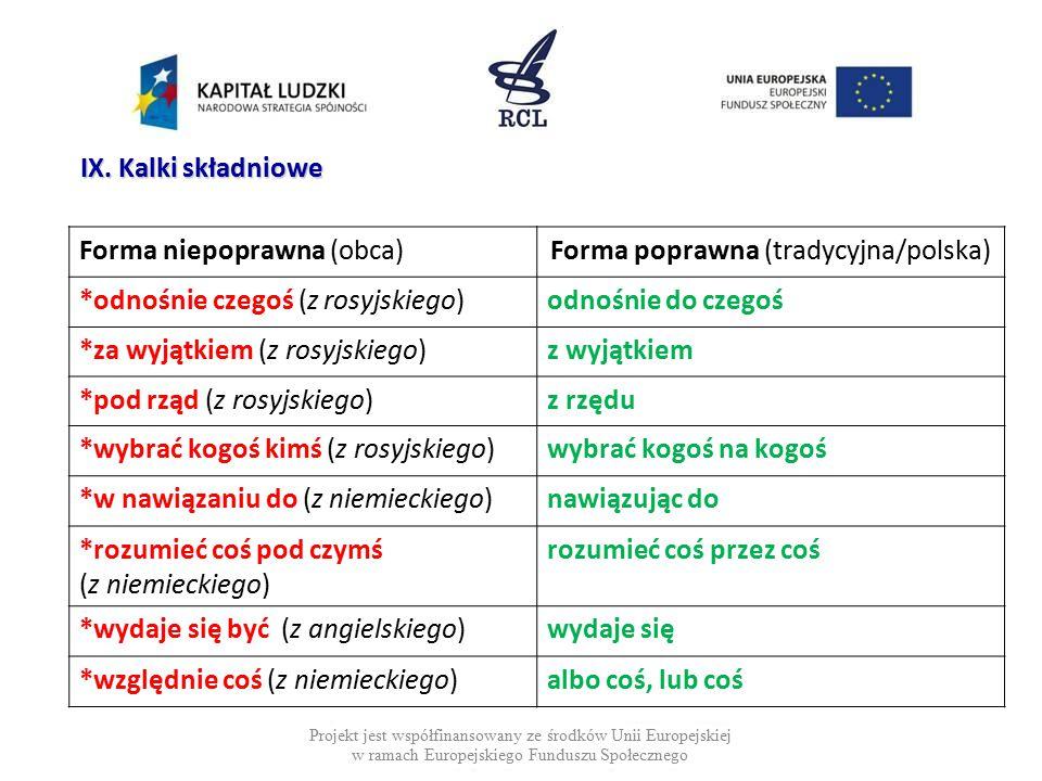 Projekt jest współfinansowany ze środków Unii Europejskiej w ramach Europejskiego Funduszu Społecznego IX. Kalki składniowe Forma niepoprawna (obca)Fo