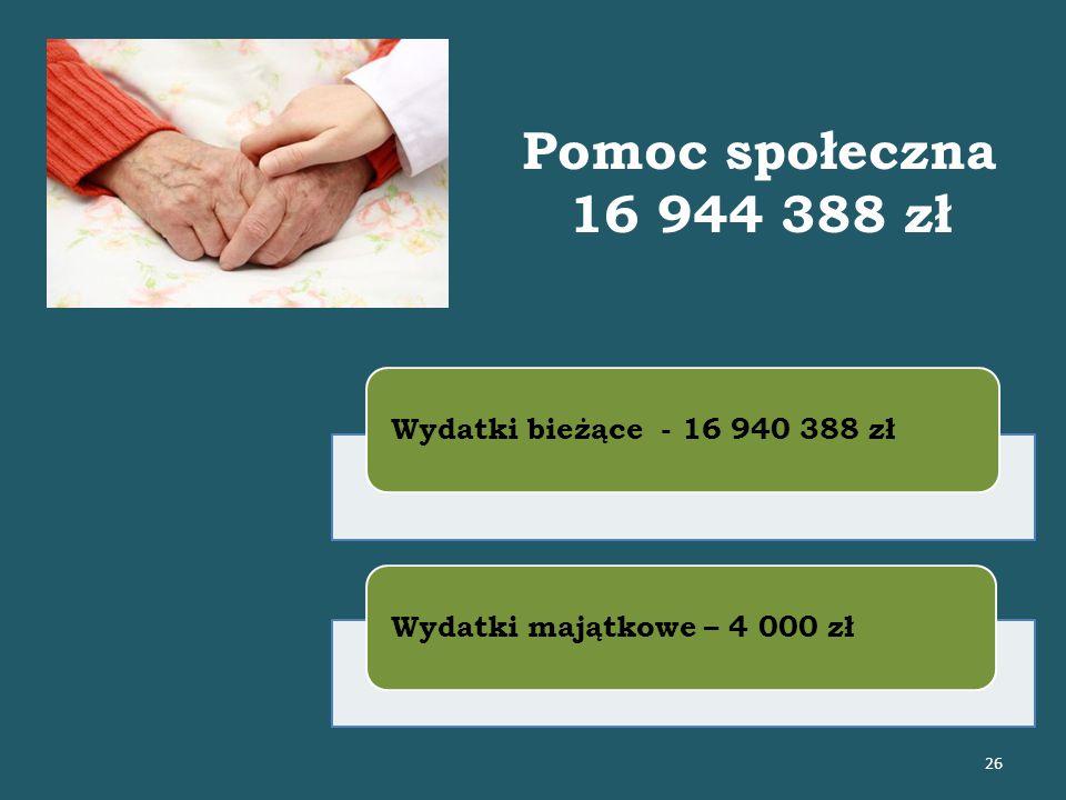 Pomoc społeczna 16 944 388 zł Wydatki bieżące - 16 940 388 złWydatki majątkowe – 4 000 zł 26