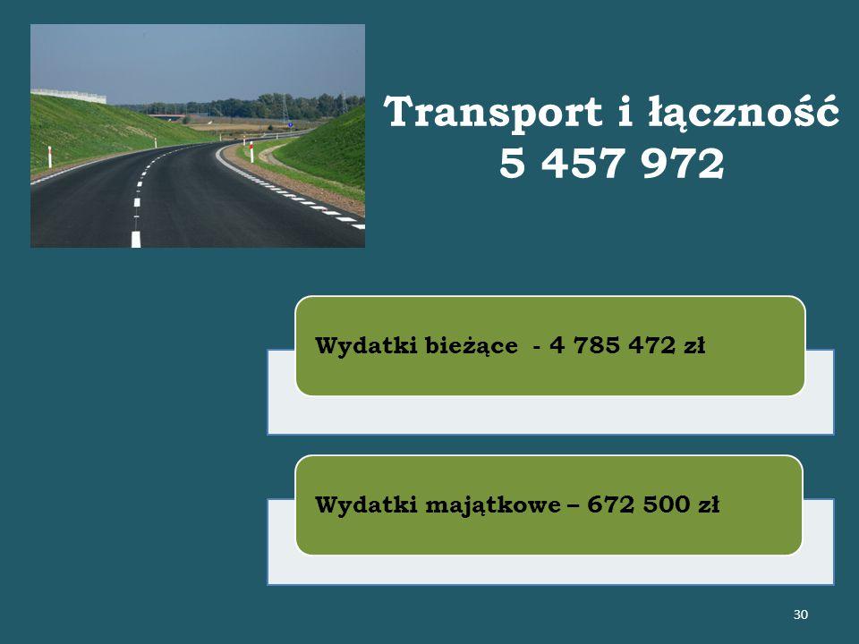 Transport i łączność 5 457 972 Wydatki bieżące - 4 785 472 złWydatki majątkowe – 672 500 zł 30