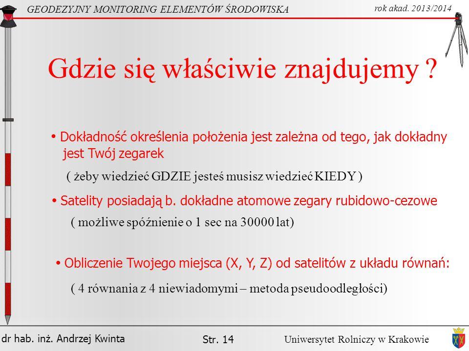 dr hab. inż. Andrzej Kwinta GEODEZYJNY MONITORING ELEMENTÓW ŚRODOWISKA rok akad. 2013/2014 Uniwersytet Rolniczy w Krakowie Str. 14 Gdzie się właściwie