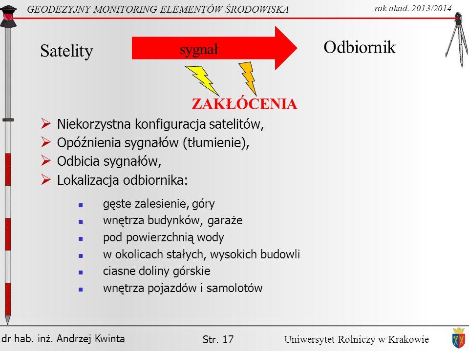 dr hab. inż. Andrzej Kwinta GEODEZYJNY MONITORING ELEMENTÓW ŚRODOWISKA rok akad. 2013/2014 Uniwersytet Rolniczy w Krakowie Str. 17 gęste zalesienie, g