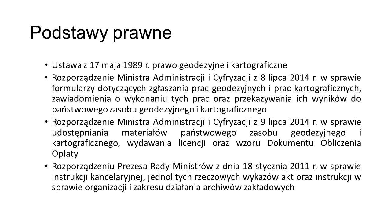 Podstawy prawne Ustawa z 17 maja 1989 r. prawo geodezyjne i kartograficzne Rozporządzenie Ministra Administracji i Cyfryzacji z 8 lipca 2014 r. w spra