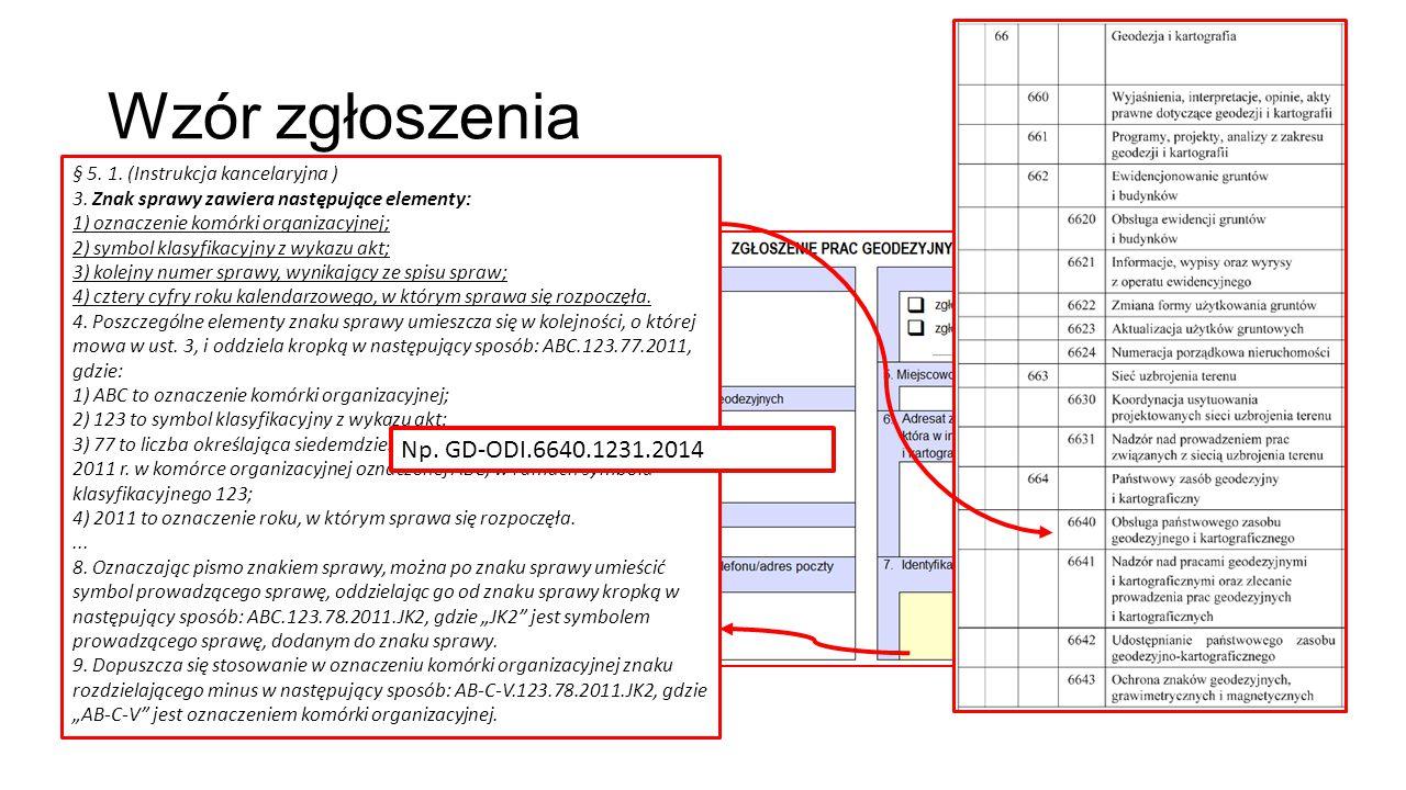 § 5. 1. (Instrukcja kancelaryjna ) 3. Znak sprawy zawiera następujące elementy: 1) oznaczenie komórki organizacyjnej; 2) symbol klasyfikacyjny z wykaz