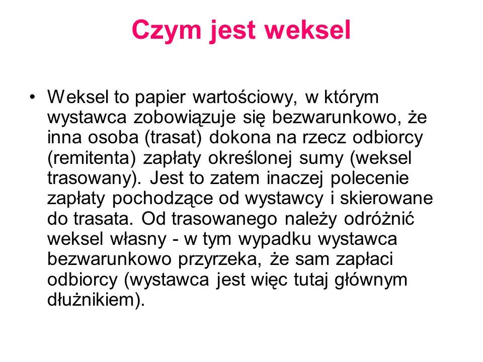 Czym jest weksel Weksel to papier wartościowy, w którym wystawca zobowiązuje się bezwarunkowo, że inna osoba (trasat) dokona na rzecz odbiorcy (remite