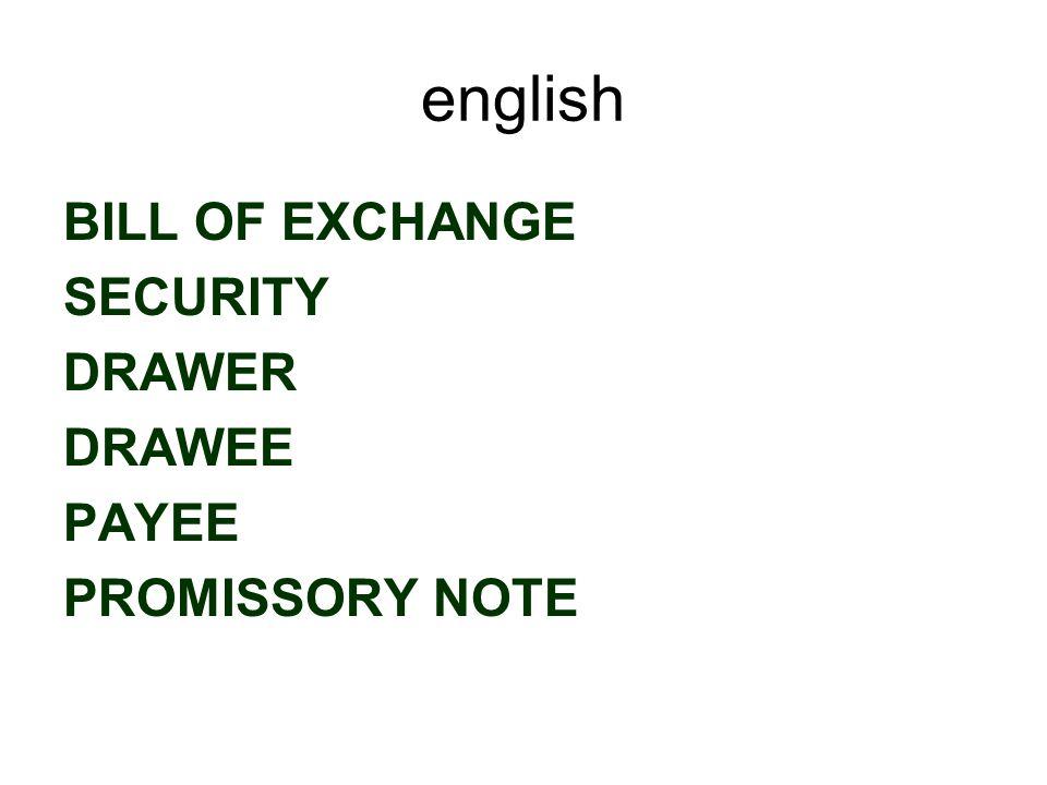 english ENDORSEMENT ALLONGE ENDORSER ENDORSEE BLANK ENDORSEMENT/ ENDORSEMENT IN BLANK