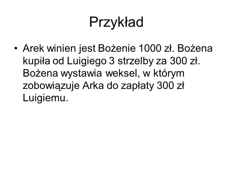 wzór WEKSEL Sosnowiec 5 stycznia 2008 na 300zł 15 czerwca 2008 zapłaci Pan za ten weksel na zlecenie Pana Luigiego Leski sumę trzystu złotych Do Arkadiusza Gąbki Ul.