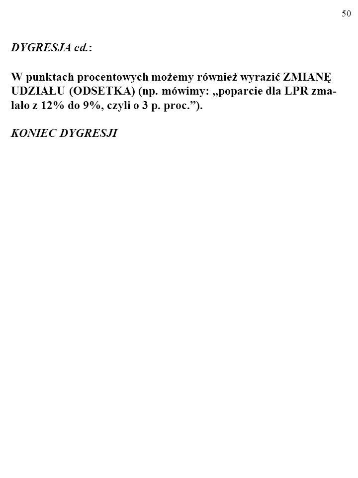 49 DYGRESJA cd.: STOPĘ ZMIANY pewnej zmiennej często wyrażamy w procen- tach (np.