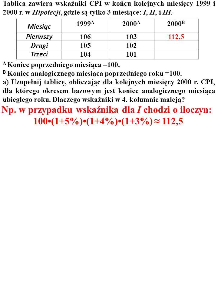 Miesiąc 1999 A 2000 A 2000 B Pierwszy 106103 X Drugi105102 Y Trzeci 104101 Z ZADANIE Tablica zawiera wskaźniki CPI w końcu kolejnych miesięcy 1999 i 2000 r.