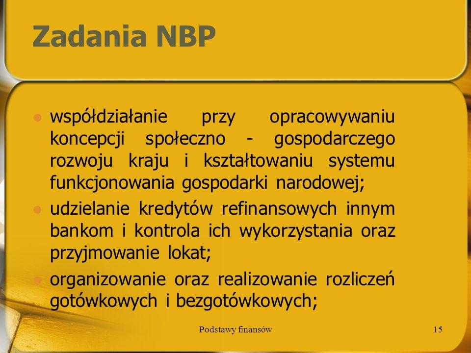 Podstawy finansów15 Zadania NBP współdziałanie przy opracowywaniu koncepcji społeczno - gospodarczego rozwoju kraju i kształtowaniu systemu funkcjonow