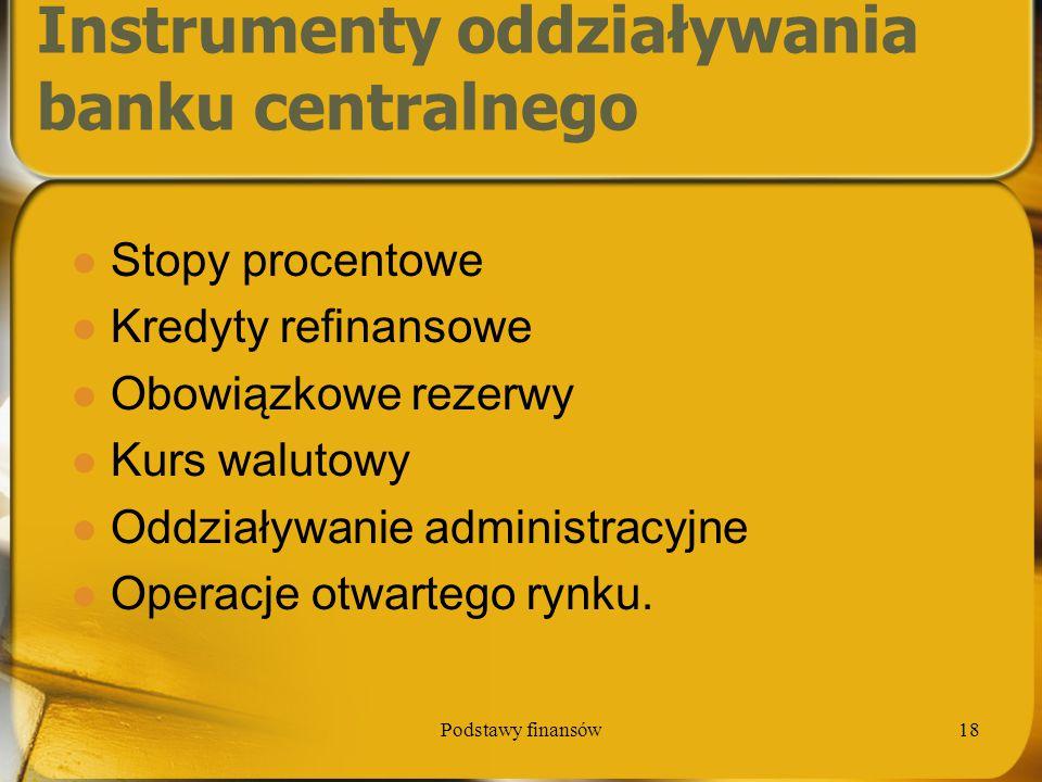 Podstawy finansów18 Instrumenty oddziaływania banku centralnego Stopy procentowe Kredyty refinansowe Obowiązkowe rezerwy Kurs walutowy Oddziaływanie a