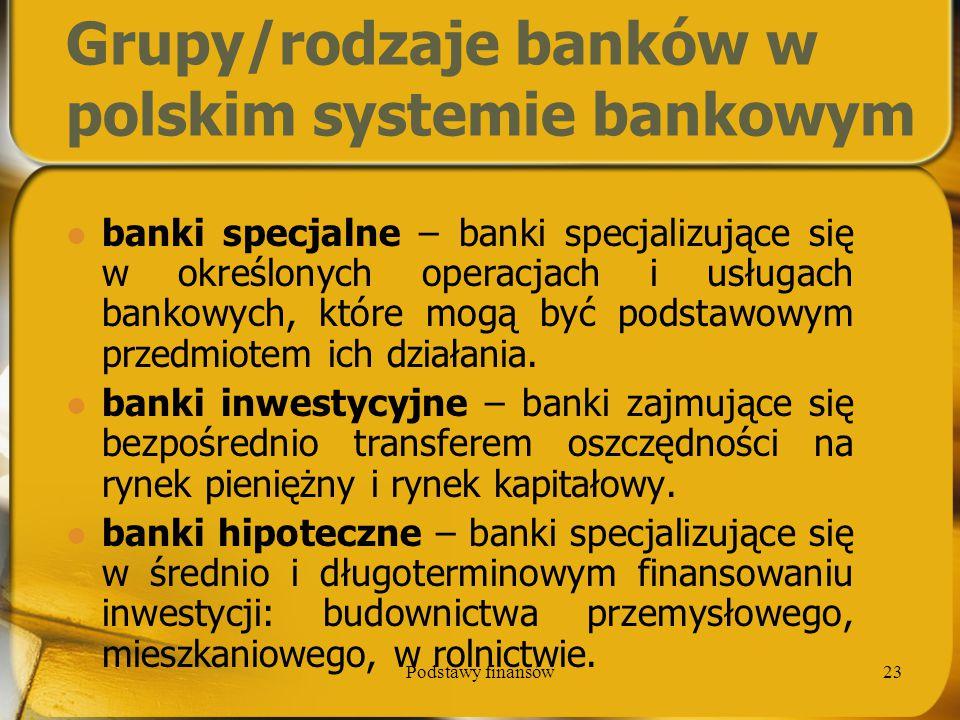 Podstawy finansów23 Grupy/rodzaje banków w polskim systemie bankowym banki specjalne – banki specjalizujące się w określonych operacjach i usługach ba