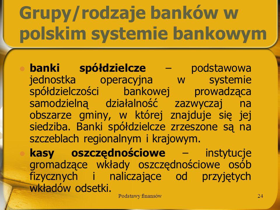 Podstawy finansów24 Grupy/rodzaje banków w polskim systemie bankowym banki spółdzielcze – podstawowa jednostka operacyjna w systemie spółdzielczości b