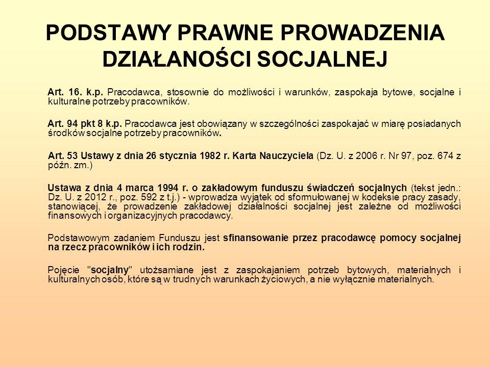 PODSTAWY PRAWNE PROWADZENIA DZIAŁANOŚCI SOCJALNEJ Art. 16. k.p. Pracodawca, stosownie do możliwości i warunków, zaspokaja bytowe, socjalne i kulturaln