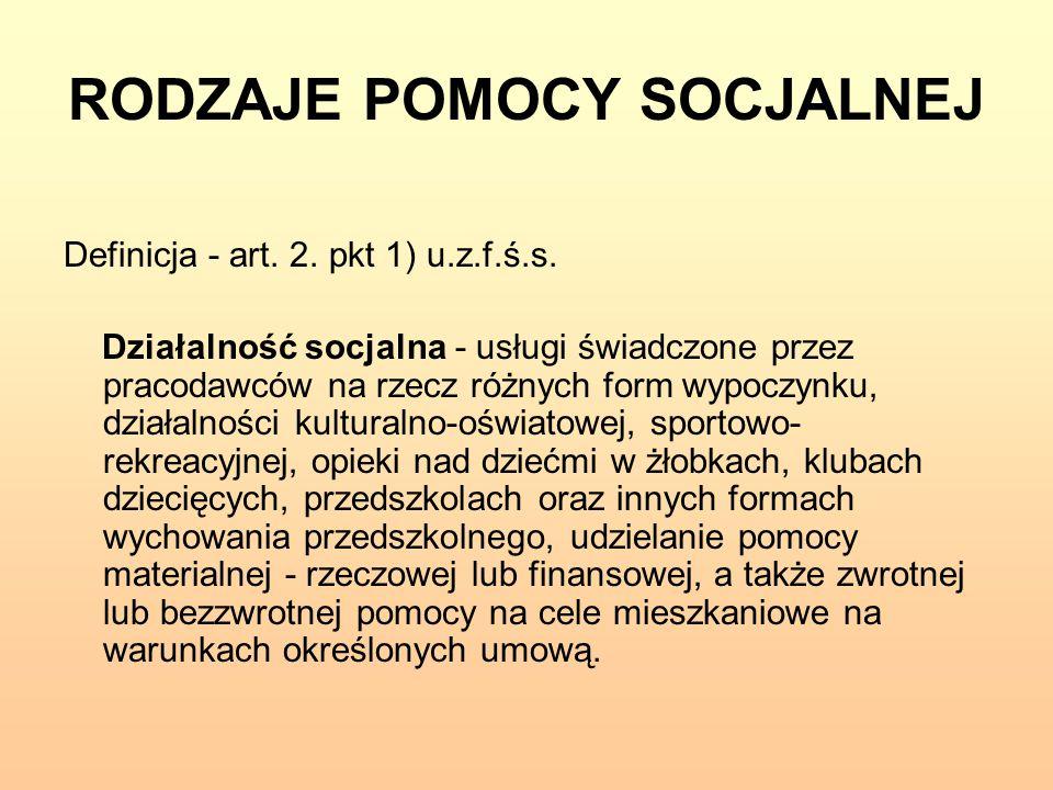 RODZAJE POMOCY SOCJALNEJ Definicja - art. 2. pkt 1) u.z.f.ś.s. Działalność socjalna - usługi świadczone przez pracodawców na rzecz różnych form wypocz