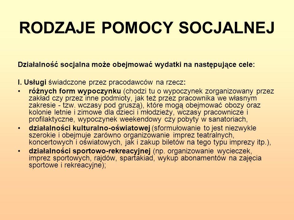 RODZAJE POMOCY SOCJALNEJ Działalność socjalna może obejmować wydatki na następujące cele: I. Usługi świadczone przez pracodawców na rzecz: różnych for