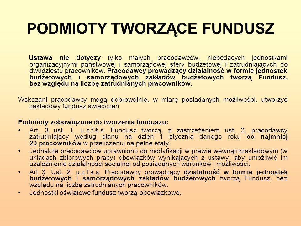 PODMIOTY TWORZĄCE FUNDUSZ Ustawa nie dotyczy tylko małych pracodawców, niebędących jednostkami organizacyjnymi państwowej i samorządowej sfery budżeto