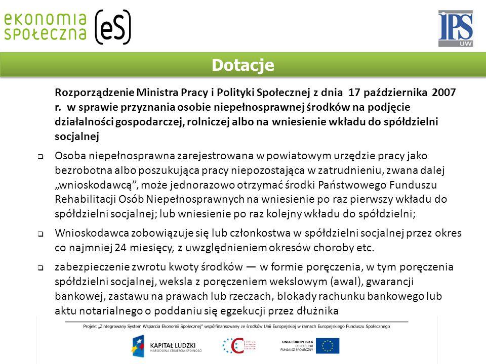 Dotacje Rozporządzenie Ministra Pracy i Polityki Społecznej z dnia 17 października 2007 r.