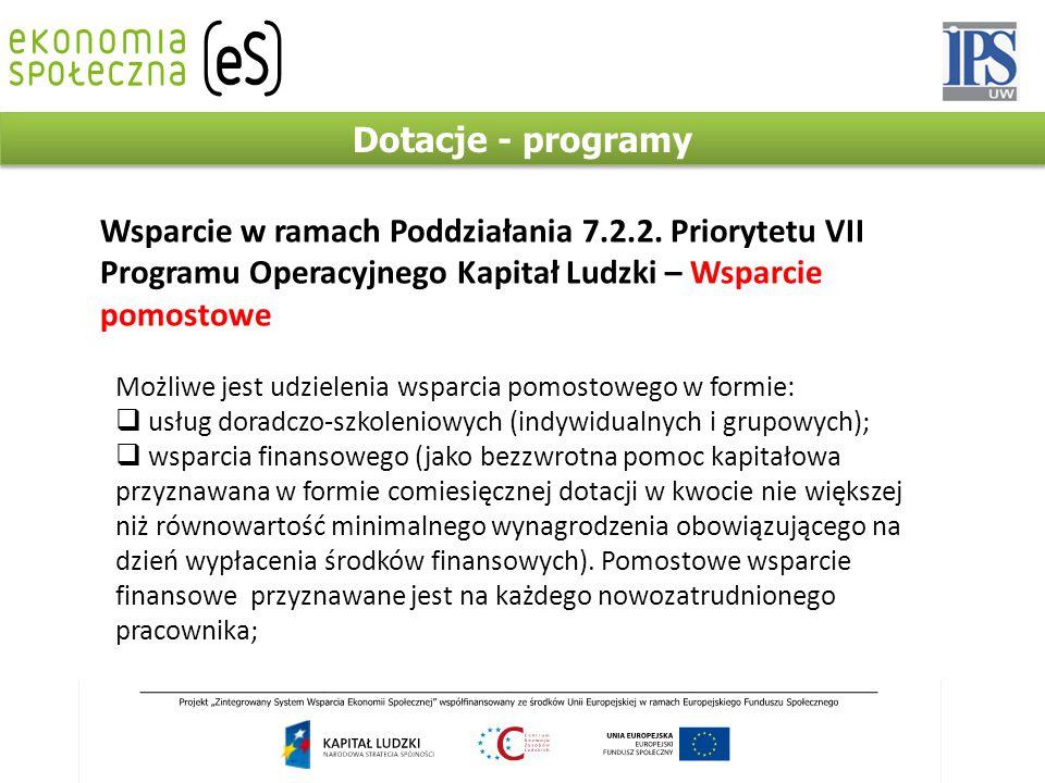 Dotacje - programy Wsparcie w ramach Poddziałania 7.2.2.