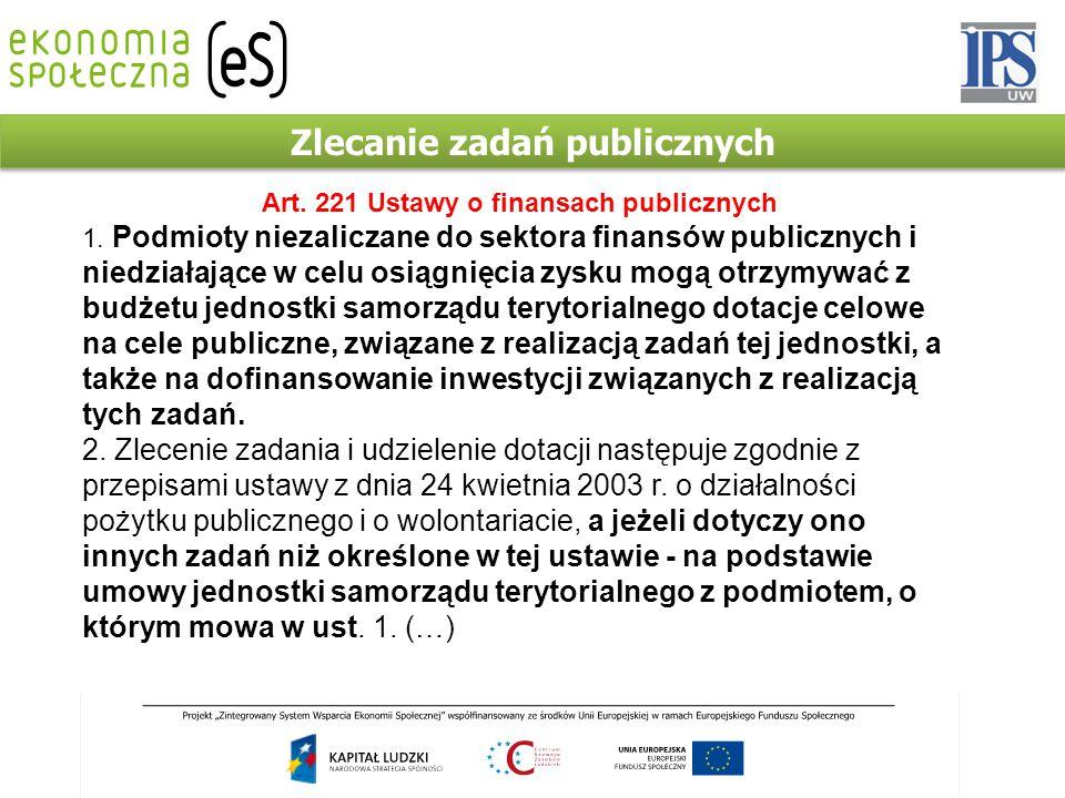 Zlecanie zadań publicznych Art. 221 Ustawy o finansach publicznych 1.