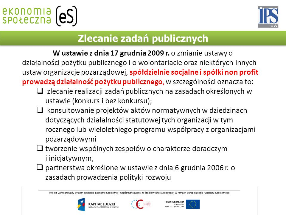 Zlecanie zadań publicznych W ustawie z dnia 17 grudnia 2009 r.