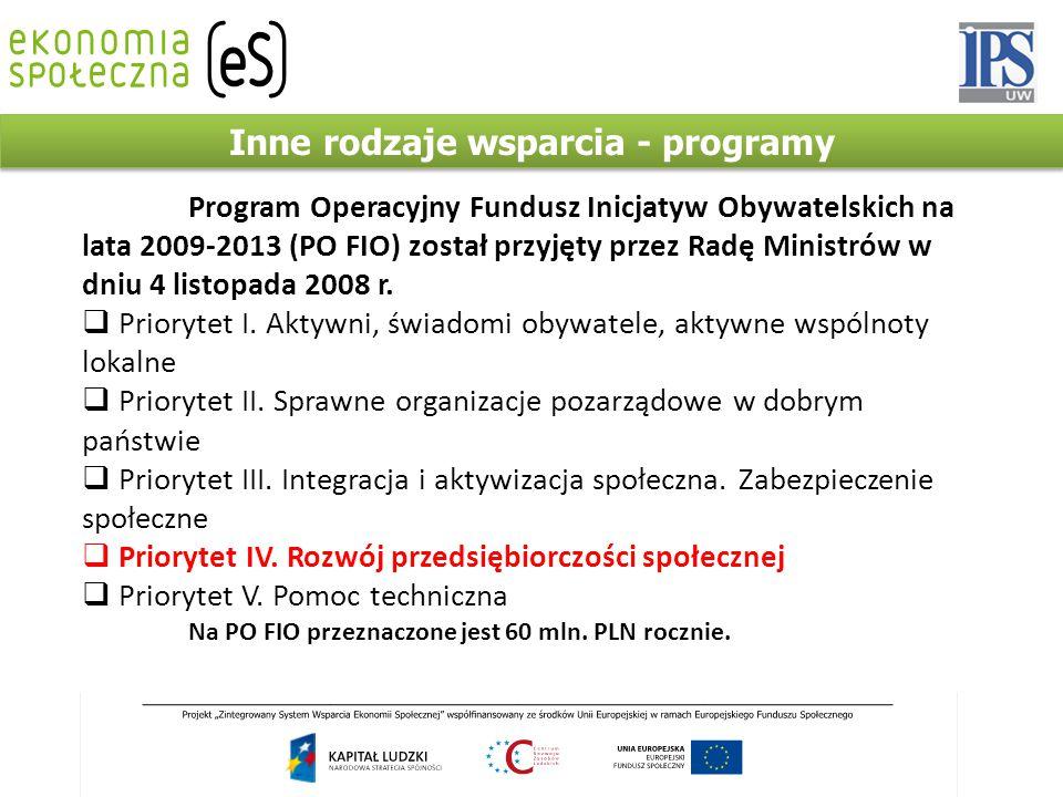 Inne rodzaje wsparcia - programy Program Operacyjny Fundusz Inicjatyw Obywatelskich na lata 2009-2013 (PO FIO) został przyjęty przez Radę Ministrów w dniu 4 listopada 2008 r.