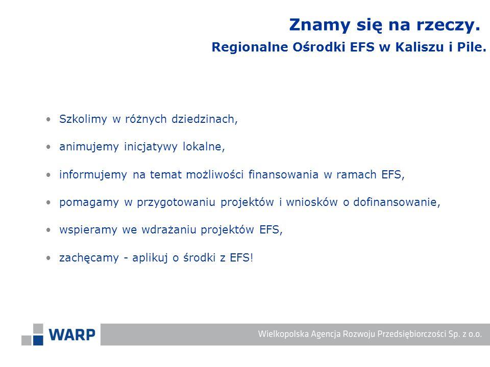 Szkolimy w różnych dziedzinach, animujemy inicjatywy lokalne, informujemy na temat możliwości finansowania w ramach EFS, pomagamy w przygotowaniu projektów i wniosków o dofinansowanie, wspieramy we wdrażaniu projektów EFS, zachęcamy - aplikuj o środki z EFS.