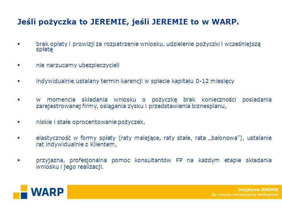 Jeśli pożyczka to JEREMIE, jeśli JEREMIE to w WARP.  brak opłaty i prowizji za rozpatrzenie wniosku, udzielenie pożyczki i wcześniejszą spłatę  nie