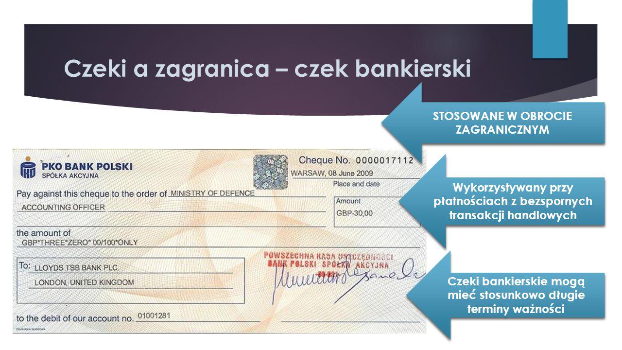 Czeki a zagranica – czek bankierski STOSOWANE W OBROCIE ZAGRANICZNYM Wykorzystywany przy płatnościach z bezspornych transakcji handlowych Czeki bankie