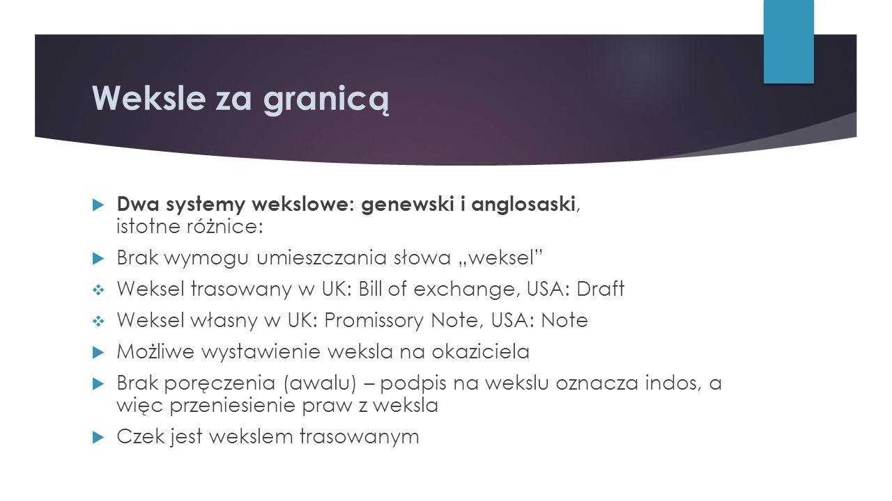 """Weksle za granicą  Dwa systemy wekslowe: genewski i anglosaski, istotne różnice:  Brak wymogu umieszczania słowa """"weksel""""  Weksel trasowany w UK: B"""