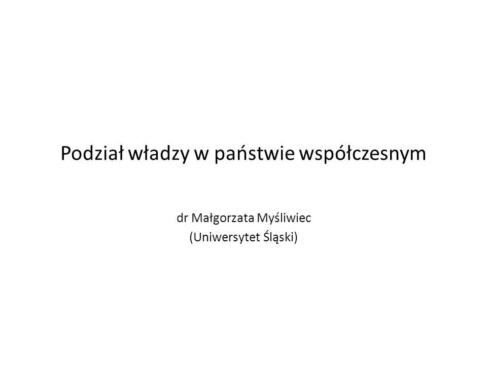 Podział władzy w państwie współczesnym dr Małgorzata Myśliwiec (Uniwersytet Śląski)