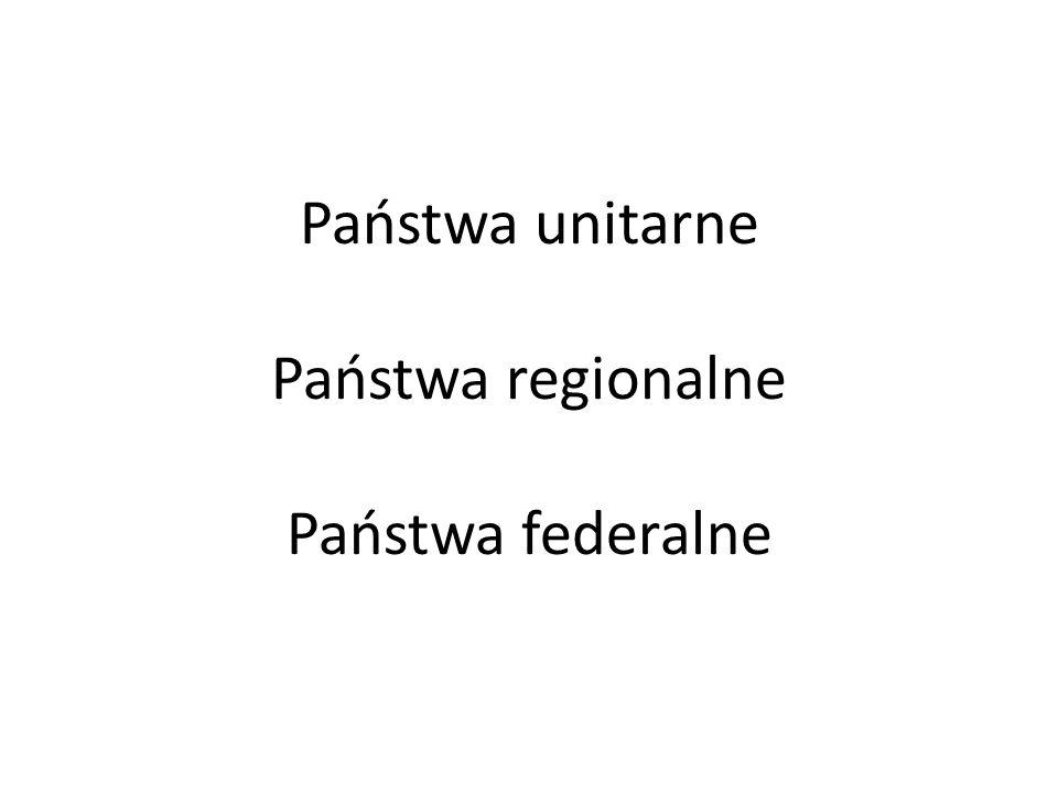Państwa unitarne Państwa regionalne Państwa federalne