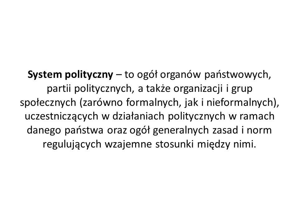 System polityczny – to ogół organów państwowych, partii politycznych, a także organizacji i grup społecznych (zarówno formalnych, jak i nieformalnych)