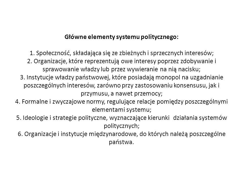 Główne elementy systemu politycznego: 1. Społeczność, składająca się ze zbieżnych i sprzecznych interesów; 2. Organizacje, które reprezentują owe inte