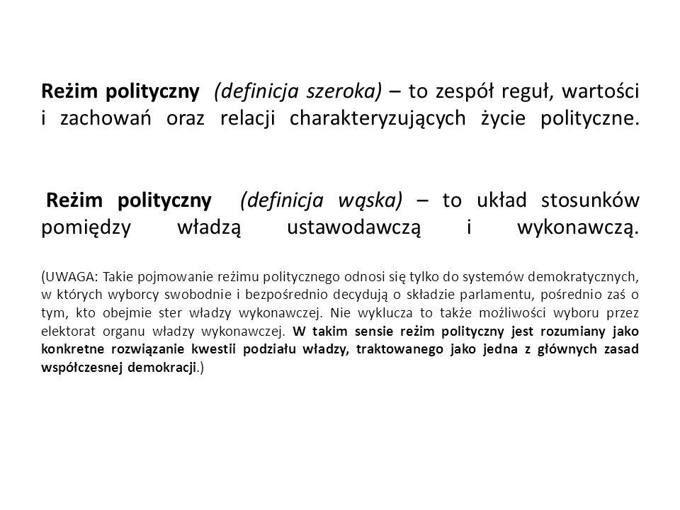 Reżim polityczny (definicja szeroka) – to zespół reguł, wartości i zachowań oraz relacji charakteryzujących życie polityczne. Reżim polityczny (defini