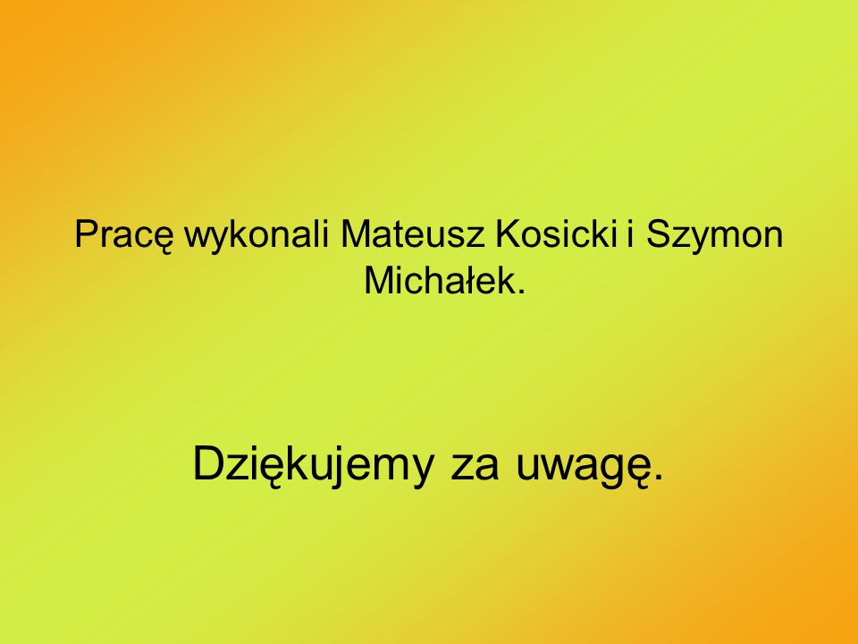 Pracę wykonali Mateusz Kosicki i Szymon Michałek. Dziękujemy za uwagę.