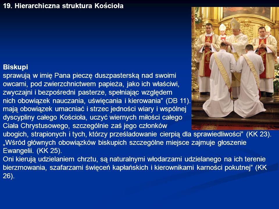 19. Hierarchiczna struktura Kościoła Biskupi sprawują w imię Pana pieczę duszpasterską nad swoimi owcami, pod zwierzchnictwem papieża, jako ich właści