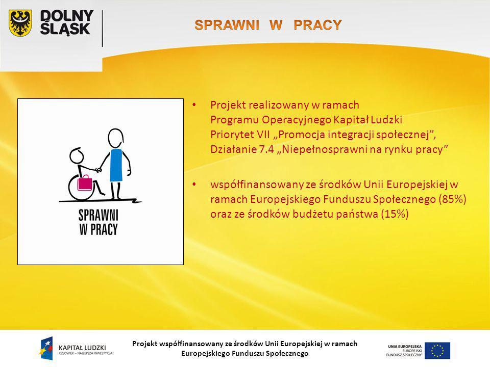 """Projekt współfinansowany ze środków Unii Europejskiej w ramach Europejskiego Funduszu Społecznego Projekt realizowany w ramach Programu Operacyjnego Kapitał Ludzki Priorytet VII """"Promocja integracji społecznej , Działanie 7.4 """"Niepełnosprawni na rynku pracy współfinansowany ze środków Unii Europejskiej w ramach Europejskiego Funduszu Społecznego (85%) oraz ze środków budżetu państwa (15%)"""