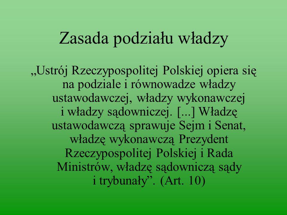 """Zasada podziału władzy """"Ustrój Rzeczypospolitej Polskiej opiera się na podziale i równowadze władzy ustawodawczej, władzy wykonawczej i władzy sądowniczej."""