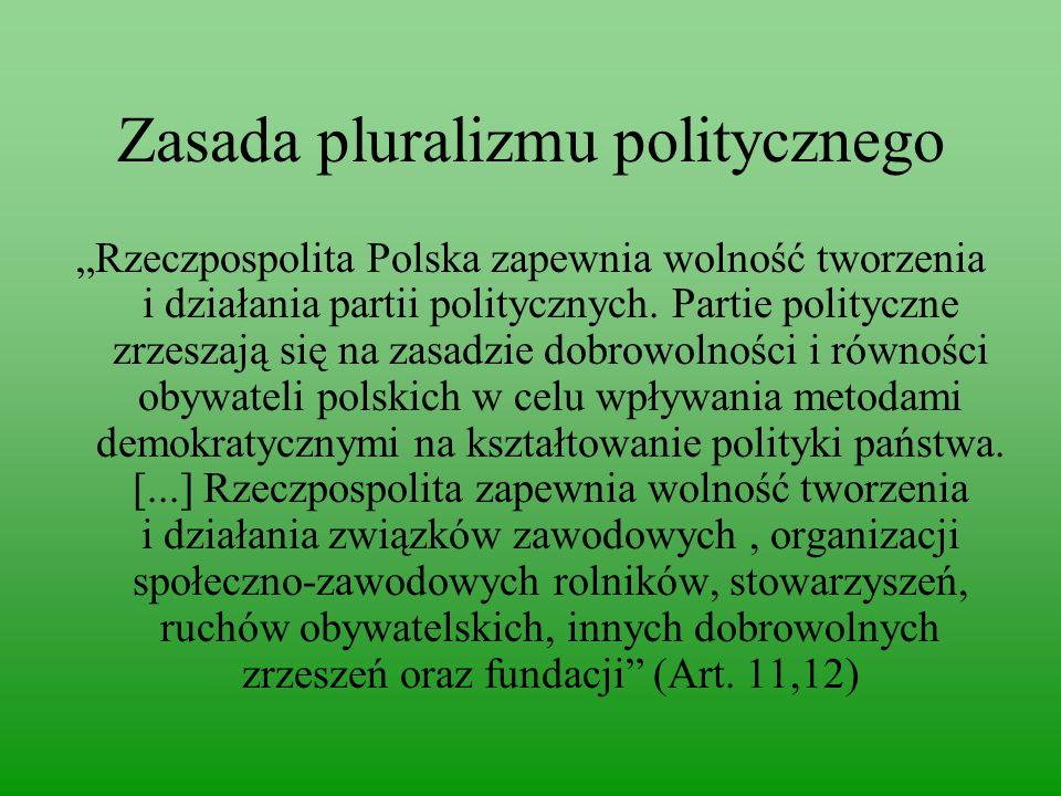 """Zasada pluralizmu politycznego """"Rzeczpospolita Polska zapewnia wolność tworzenia i działania partii politycznych."""