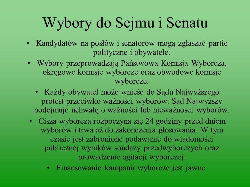 Wybory do Sejmu i Senatu Kandydatów na posłów i senatorów mogą zgłaszać partie polityczne i obywatele.